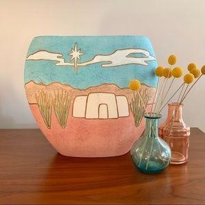 Vintage Southwest Pastel Boho Desert Cactus Vase